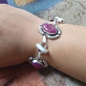 Natural ruby biwa pearl stamped 925 bracelet adjus
